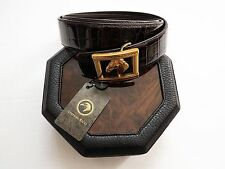 NEW STEFANO RICCI Limited Edition Brown Crocodile Leather Belt Size 46 US 115 CM