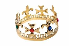 ADULT RENAISSANCE MEDIEVAL PRINCE KING QUEEN COSTUME METAL GOLD JEWELED CROWN