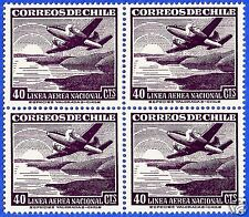 CHILE, AIRPLANE OVER COAST AND SUNSHINE, BLOCK OF 4, MNH, 1951-55, NO WATERMARK
