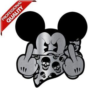 2 Aufkleber Bad Micky Mickey Maus JDM Mittelfinger Stickers Auto Motorrad B 261