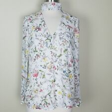 Anthropologie Belle Vere Women Sz S White Floral Long Sleeve Top Blouse Keyhole