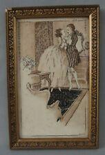 petite gravure estampe scène galante danse cadre doré 1900
