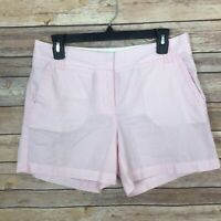 J Crew Factory Womens 4 Pink Stripe Chino Short 100% Cotton Lightweight Mid Rise