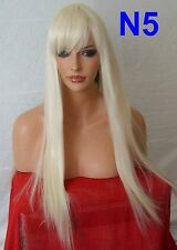 Pale Blonde Wig Fashion Long Straight Fringe Party Ladies Full Hair Head Wigs N5