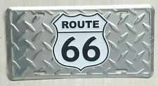 ROUTE 66 DIAMOND PLATE  EMBOSSED METAL LICENSE PLATE MOTHER ROAD