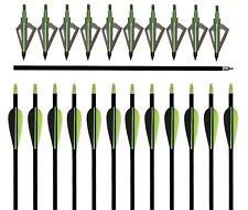 """12X IRQ Archery Fiberglass Arrows 32"""" With Hunting 12 Broadheads 100Grain Target"""