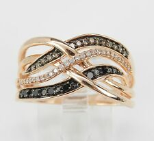 Fancy Cognac Black Diamond Crossover Ring Multi Row Rose Gold Band Size 7.25
