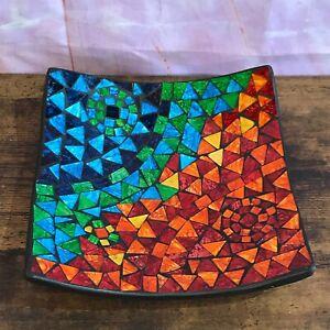 25cm Rainbow Cubes Square Mosaic Handmade Ceramic Glass Tile Bowl Dish Fruit