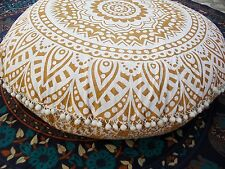 Golden Ombre Round Floor Cushion Covers Hippie Floor Pouf Cover Pillow Cover 32""