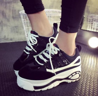 Womens Sport Sneakers Round Toe High Platform Creeper Casual Lace Up Shoes Chic