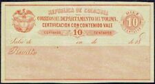213 TOLIMA COLOMBIA PS STATIONERY DECLARED VALUE FORM UNUSED 10cents