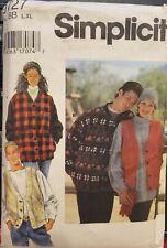 Simplicity pattern 9727 Misses, Mens, Teens Unlined Jacket & Vest sz L, XL uncut