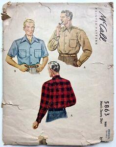 Vintage McCall 5863. Mens Sports Shirt Button Down Collar. Medium, 15 - 15 1/2