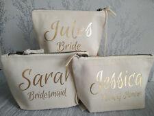 bride bridesmaid keepsake makeup bag personalised with any gold name gift