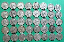 1- FULL MIXED ROLL OF 40 WASHINGTON SILVER QUARTERS. $10.00 FACE VALUE. #8