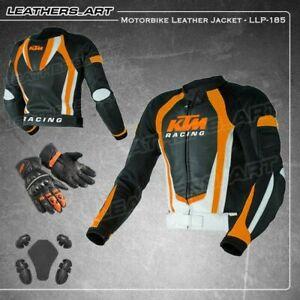 KTM Men Motorcycle motorbike racing leather jacket with glove LLJ-185(USA 38-48)