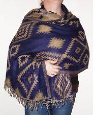Boho Bandit Aztec Design Reversible Warm Snug Indian Soft Acrylic Shawl (AR9)