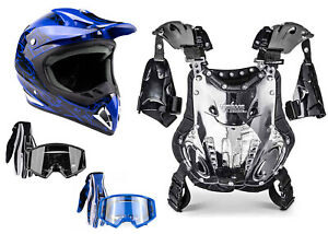 Adult Chest Protector Combo Blue Helmet Gloves Goggles Motocross DOT ATV UTV