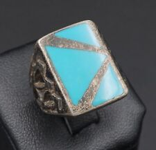 Rustic Chunky Blue Enamel Inlay Sterling Silver Ring Geometric Cut Out RS1163
