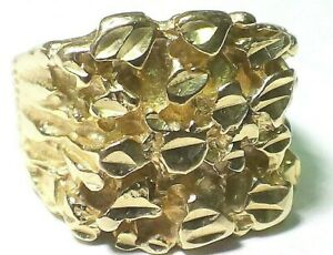 Men's Solid 14k Yellow Gold Nugget Ring Size 11 and 12 Grams