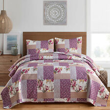 3pc Plaid Printed Reversible Bedspread/Quilt Set (Queen/King Size)