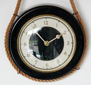 Vintage 23cm Black Metal Wall Clock - Retro Mid Century German Rope Gift