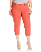New Levi's Womens Coral Orange Mid Rise Capri Cropped Stretch Denim Jeans Sz 20W