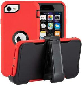 For Apple iPhone SE 2020 Heavy Duty TPU Case Cover w/ Screen & Belt Clip Holster