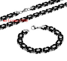 Daily Deals Stainless Steel Flat Link Chain Necklace + Bracelet Mens Jewelry Set