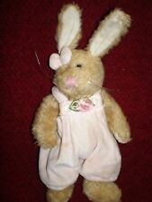 """Vintage Stuffed Rabbit in Pink Coveralls 9-1/2"""" Tall with Movable Limbs"""