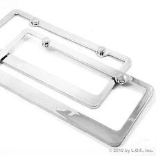 Pair Heavy Duty Plain License Plate Frame Chrome Blank Holder Modern Tag Caps