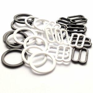 16mm Plastic Bra Strap Adjustment Slides or Rings Black White pack of 10