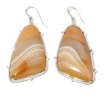 Jay King Striped Agate Sterling Silver Elongated Drop Earrings HSN $129.90