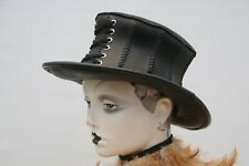 STEAMPUNK REAL LEATHER TOP HAT, CORSET STYLE (HANDCRAFTED) SIZE 21""