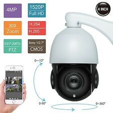 "30X OPTICAL ZOOM 4"" Size 4MP IP PTZ Dome Camera SONY CMOS ONVIF -USA Shipping"
