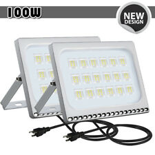 2x 100W LED Flood Light With US PLUG Cool White Outdoor Spotlight Garden Lamp