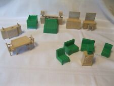 Sixteen Pieces of Vintage Marx Kitchen and Bathroom Dollhouse Furniture Green