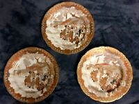 Lot Of 3 Japanese Wataya sei Tsukuru Kutani Satsuma Porcelain Plates