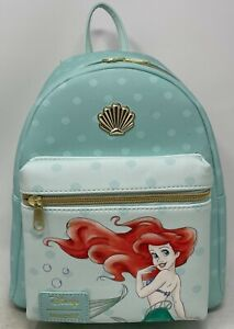 LOUNGEFLY DISNEY PRINCESS THE LITTLE MERMAID ARIEL SHELL MINT MINI BACKPACK