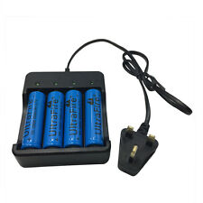 4X 18650 3.7V 5000mAh Li-ion Rechargeable Battery + 4.2V Charger Plug UK