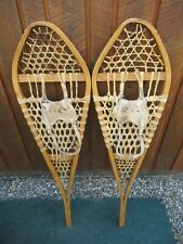 """Nice Snowshoes 42"""" Long x 12"""" Wide Gros Louis + Leather Bindings Ready To Use"""