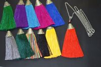 "A 9cm Long Silky Tassel Charm Pendant Fish Shape 30"" long Silver Chain Necklace"