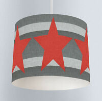 Grey And Red Stars (161) Boys Bedroom Drum Lampshade Light Shade