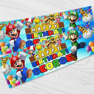 Personalised Super Mario Birthday Party Banner - Children Party Banners x 2