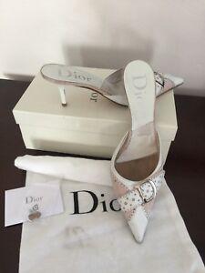 Dior White/pink Monogram Slip On Women's Pointed Toe Mules, 8,5