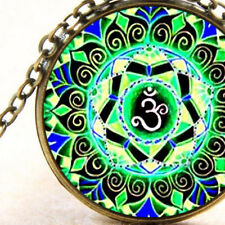 New Om Aum Blue and Green Mandala, Geometry Pendant Necklace Spiritual Awareness