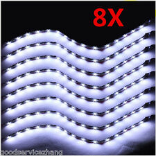HOT 8x 30cm White 15 LED SMD Bulb Flexible Interior Atmosphere Strip Light Lamp