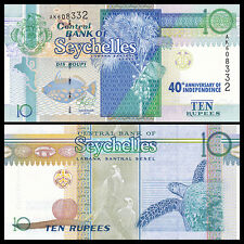 Seychelles 10 Rupees Banknote, 2013(2016), P-54, 40th Commemorative, UNC