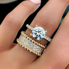 18K Yellow Gold Plated White Sapphire Ring/Set Fashion Women Wedding Jewelry6-10