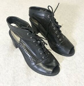 CHINESE LAUNDRY - Black Lace Up Block Heel Peeptoe Boots Sandals Size 40 / 9